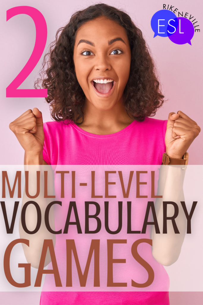 woman is excited about vocabulary games in her English class